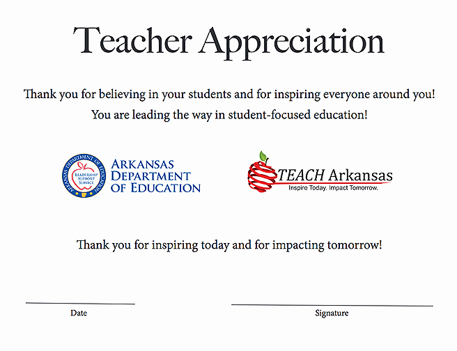Free Teacher Appreciation Certificates Inspirational State Board Of Education