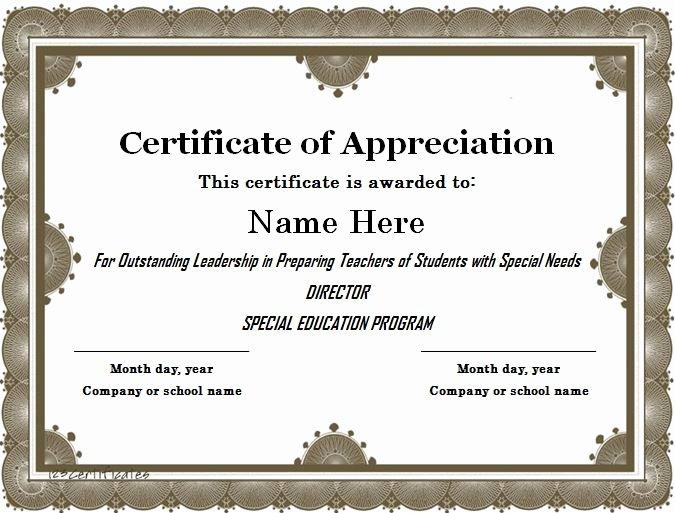 Free Teacher Appreciation Certificates Luxury 31 Free Certificate Of Appreciation Templates and Letters