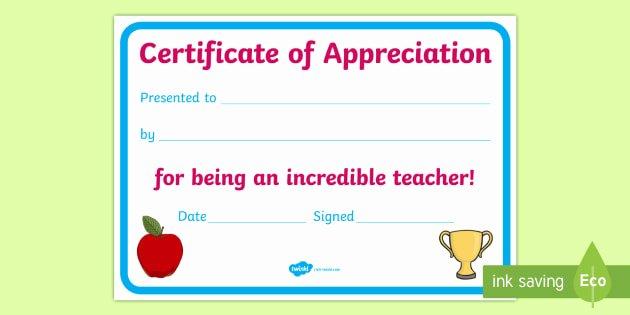 Free Teacher Appreciation Certificates New Teacher Appreciation Certificate Teacher Appreciation