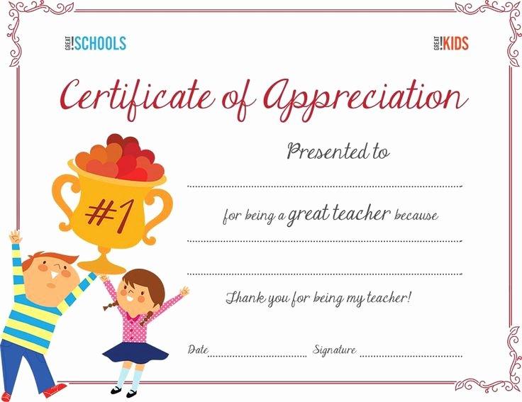 Free Teacher Appreciation Certificates Unique Teacher Appreciation Certificate