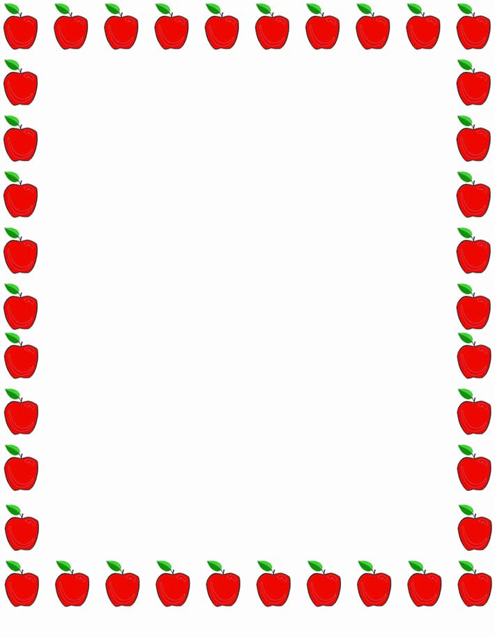 Free Teacher Borders for Word Documents Beautiful Apple Borders for Teachers