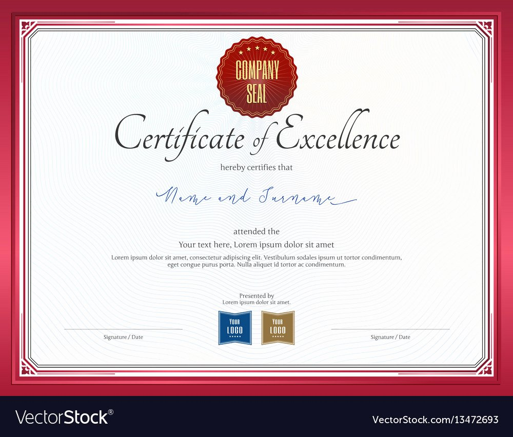 Free Vector Certificate Borders Awesome Certificate Of Excellence Template with Red Border
