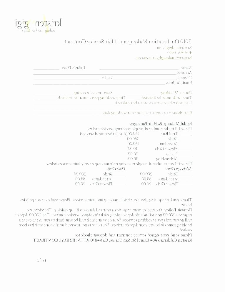 Freelance Makeup Contract Template Fresh Sample Contract for Makeup Artist