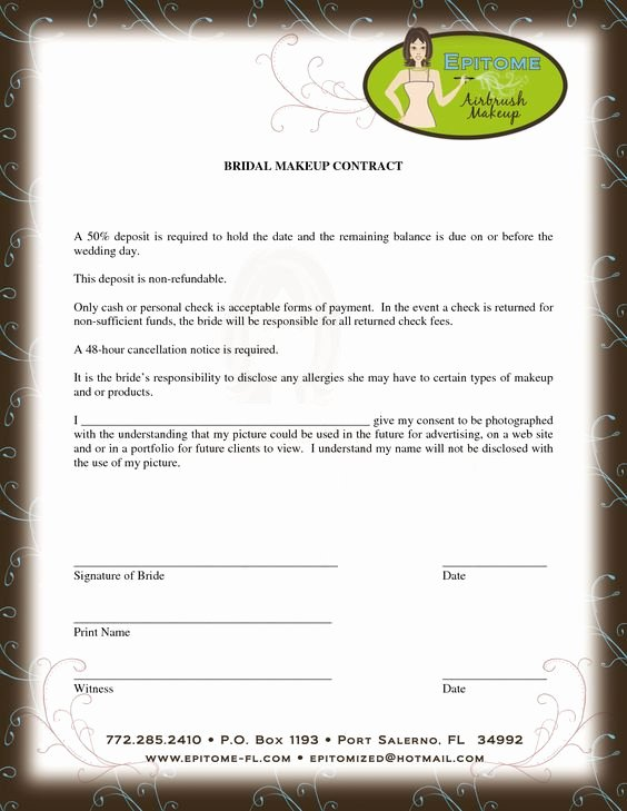 Freelance Makeup Contract Template Inspirational Contract for Discounts Beyoutiful