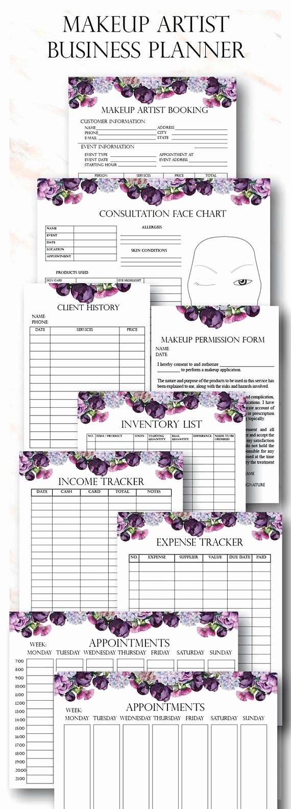 Freelance Makeup Contract Template Luxury Floral Makeup Artist Business Planner Bundle Freelance