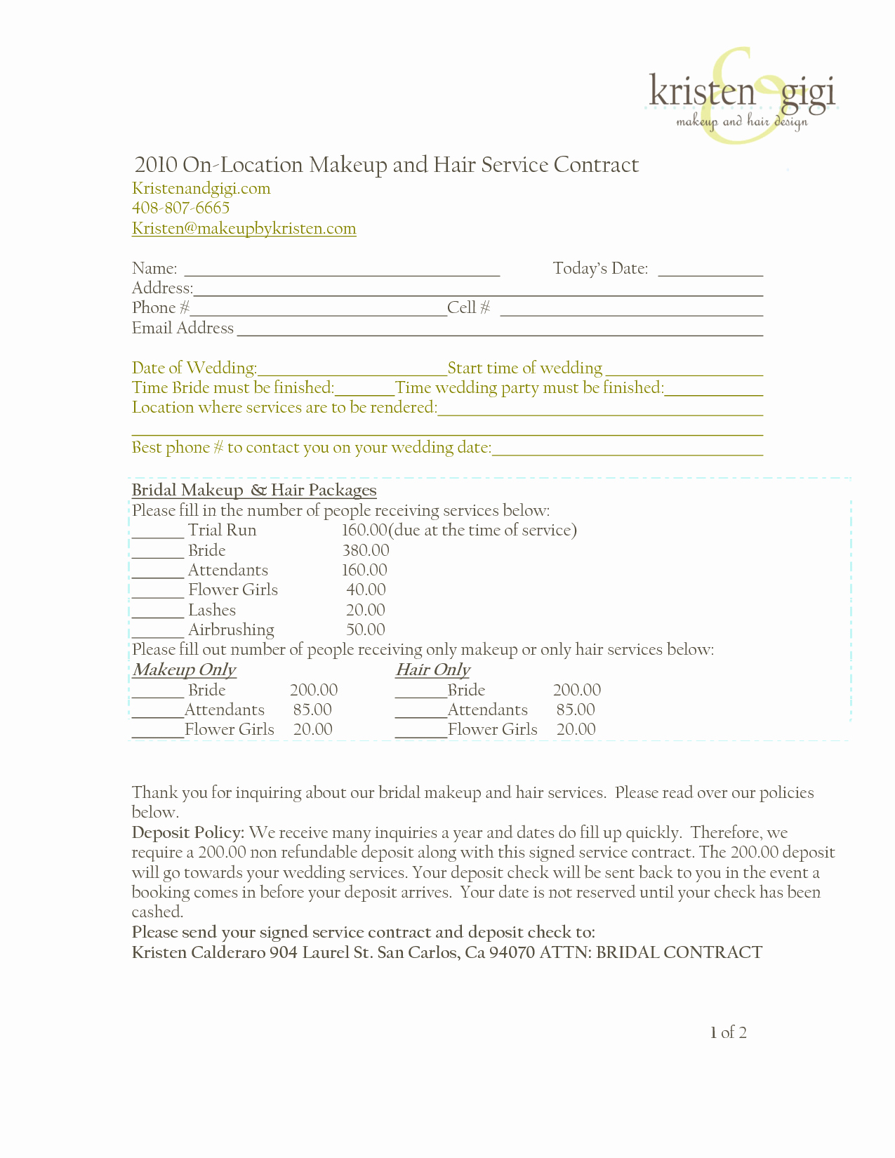 Freelance Makeup Contract Template New Bridalhaircotract