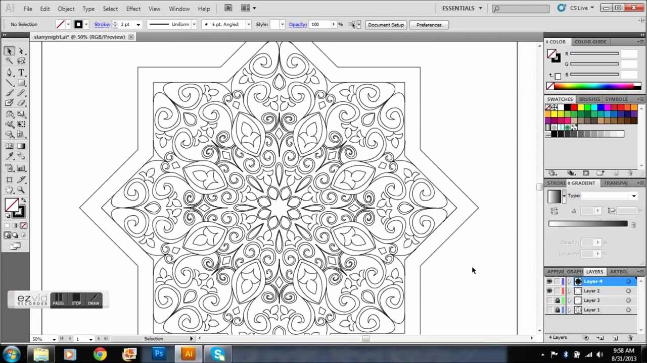 Full Page Star Template Elegant Star Shaped islamic Pattern Time Lapse