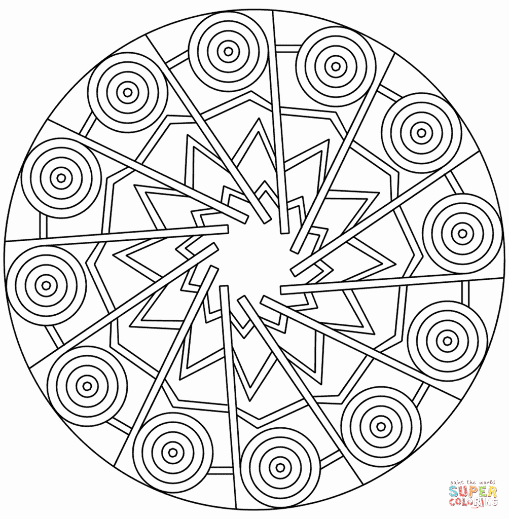 Full Page Star Template Inspirational Mandala with Stars and Circles Coloring Page