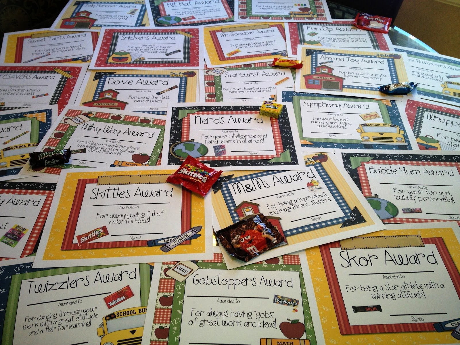 Fun Awards for Students Unique Candy Awards Tunstall S Teaching Tidbits