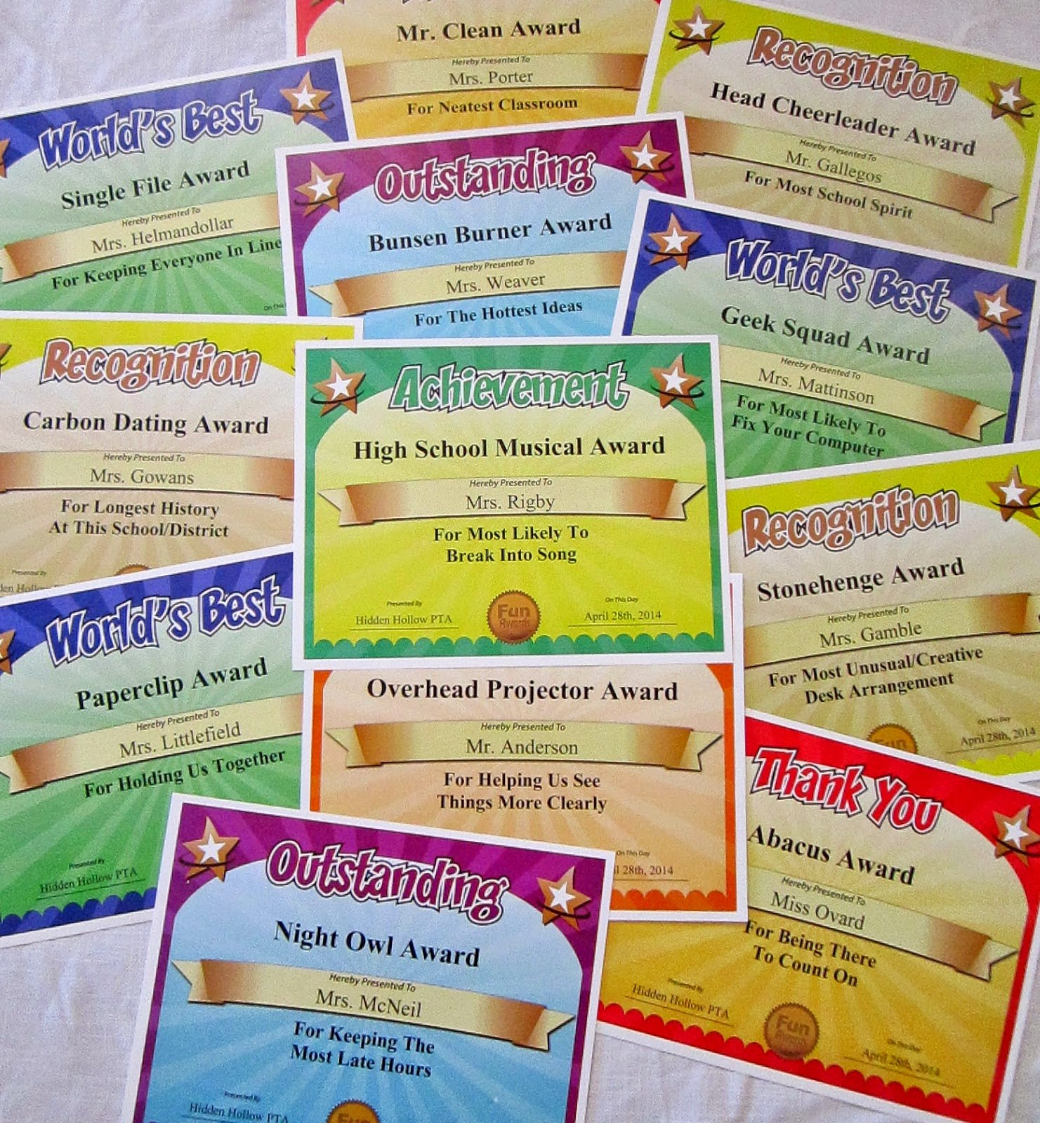Funny Award Categories for Teachers Beautiful Funny Award Ideas