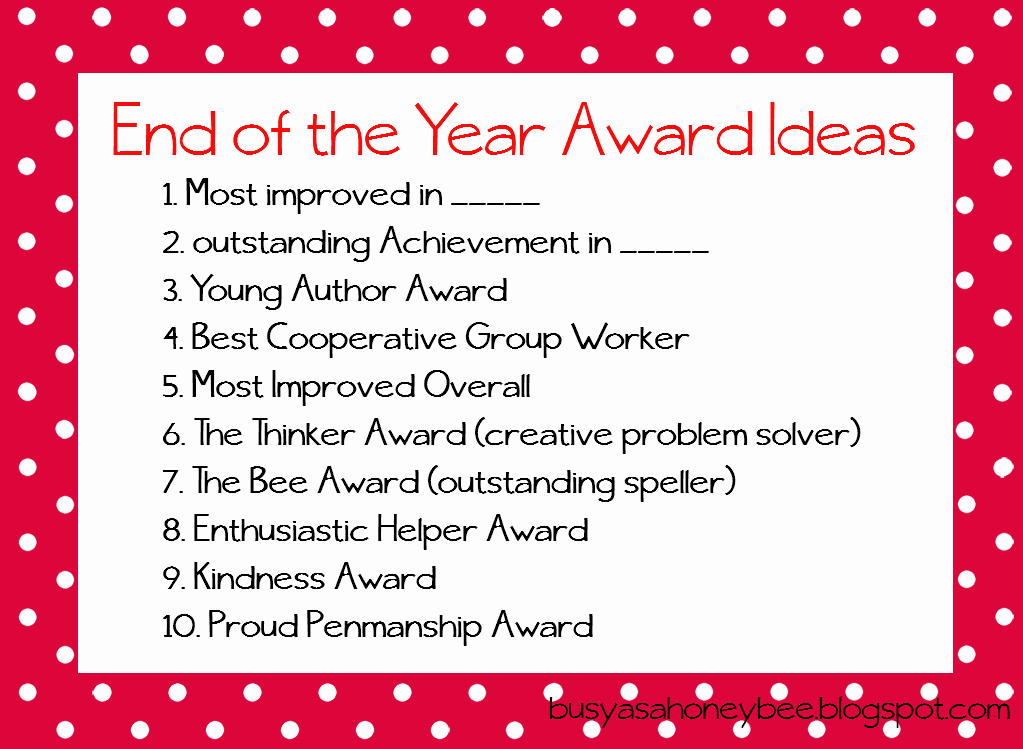 Funny Award Categories for Teachers Inspirational End Of the Year Award Ideas for Teachers Resources too