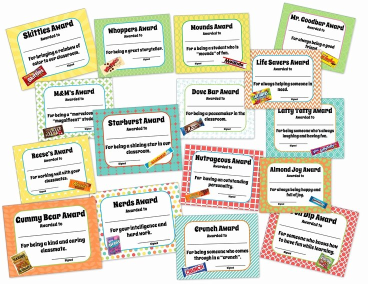 Funny Awards for Kids Beautiful Classroom End Of the Year Awards Candy themed