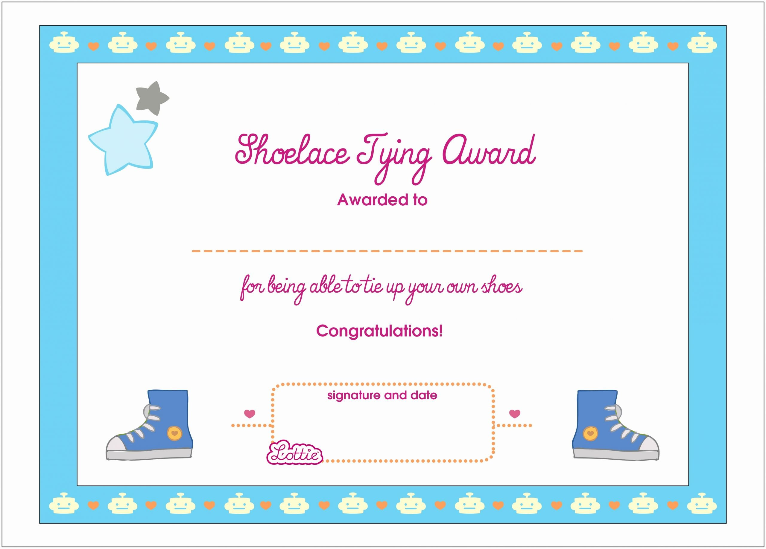 Funny Awards for Kids Best Of Shoelace Tying Printable Award Certificate – Lottie Dolls