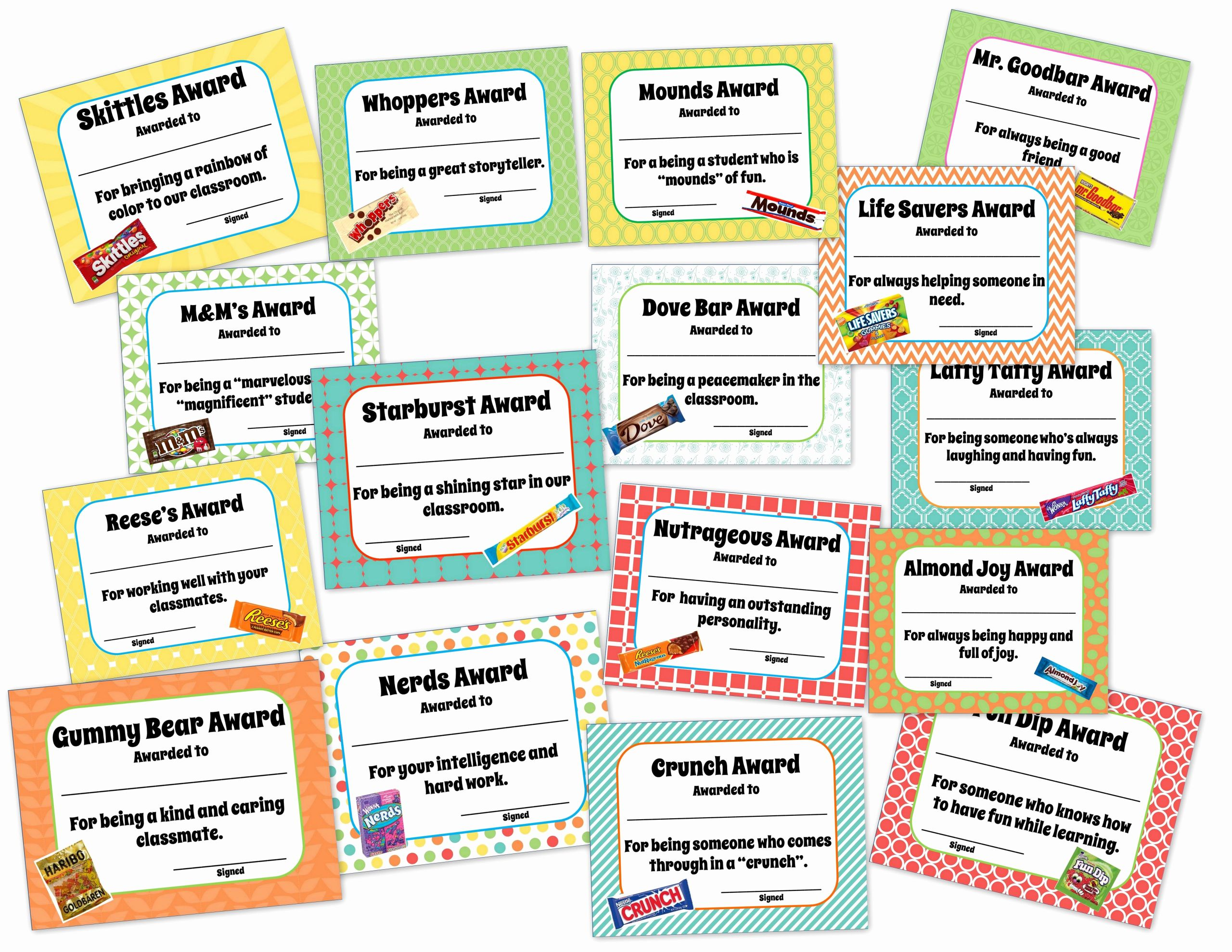 Funny Awards for Kids Elegant Classroom End Of the Year Awards Candy themed