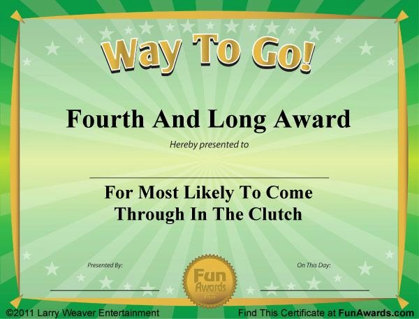 Funny Awards for Kids Fresh Sports Awards … Lol