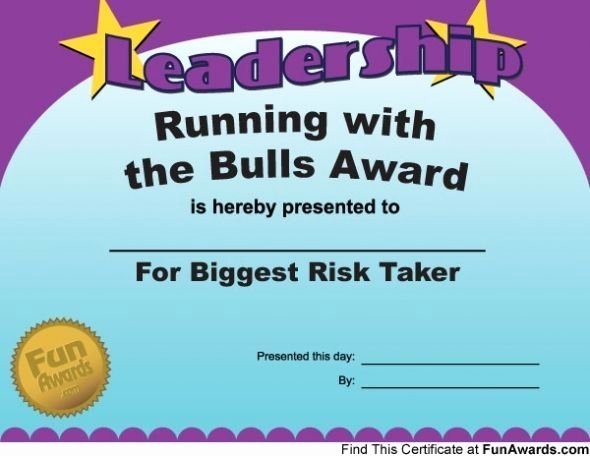 Funny Awards for Students Fresh Award Running with the Bulls Award