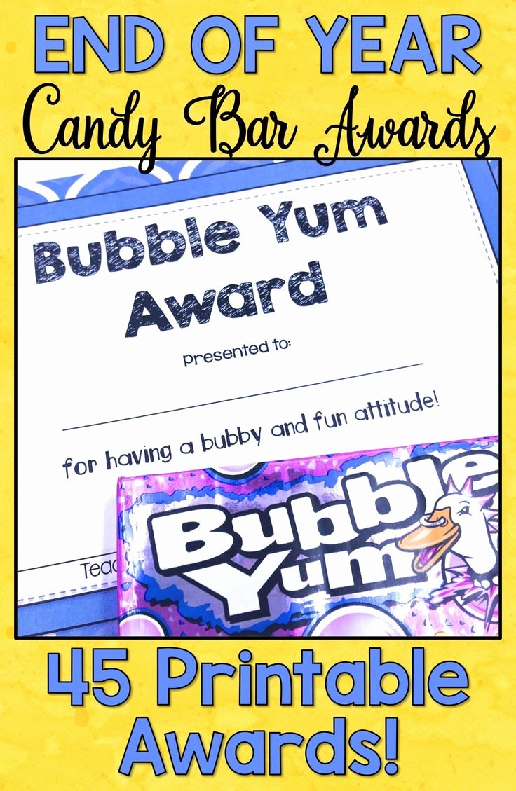 Funny Awards for Students Inspirational End Of Year Awards Candy Bar Awards Certificates Editable