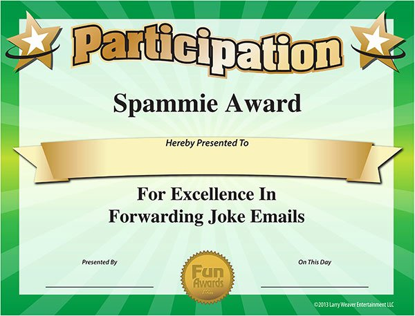 Funny Awards for Teachers Awesome the Spammie Award