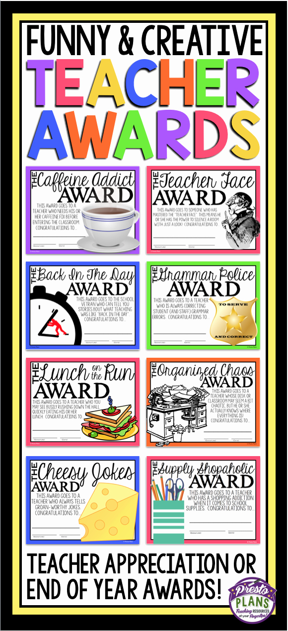 Funny Awards for Teachers New End Of the Year Awards for Teacher Staff Member
