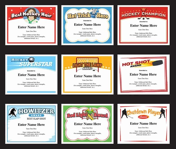 Funny Bowling Award Categories Awesome Hockey Certificates Templates