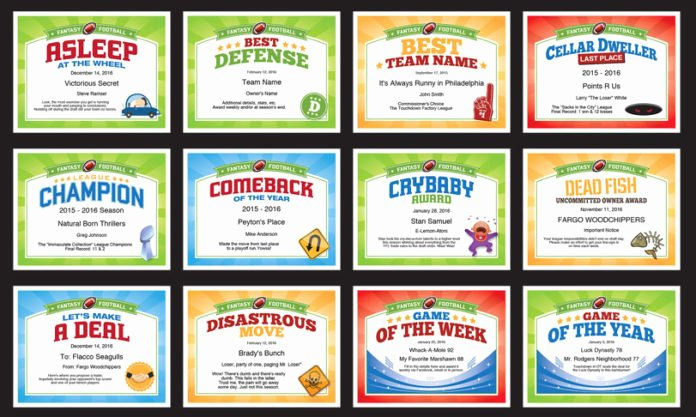 Funny Cheer Awards Ideas Inspirational Fantasy Football Certificates