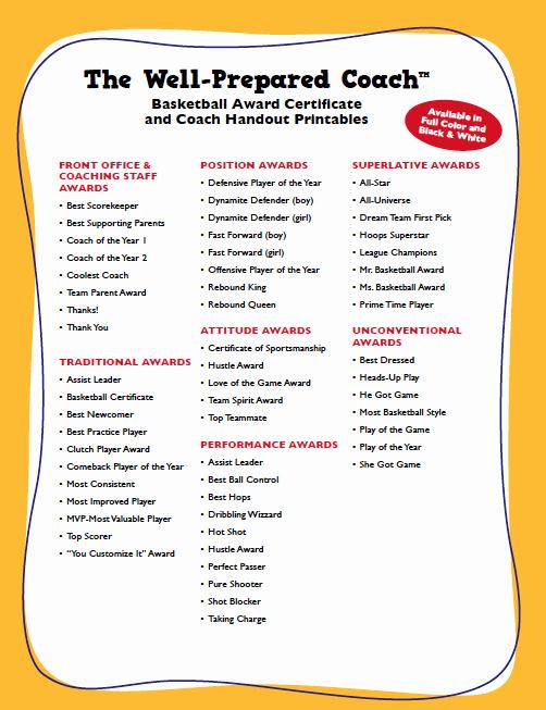 Funny Cheer Awards Ideas Lovely Basketball Certificates List Basketball