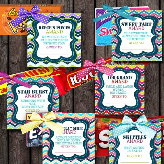 Funny Cheer Awards Ideas Unique Girls Camp Awards Candy Tags 24 Different by
