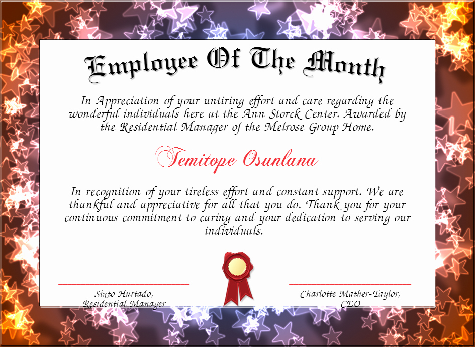 Funny Employee Of the Month Certificate Beautiful Employee the Month Certificate