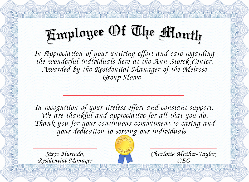 Funny Employee Of the Month Certificate Inspirational Employee the Month Certificate