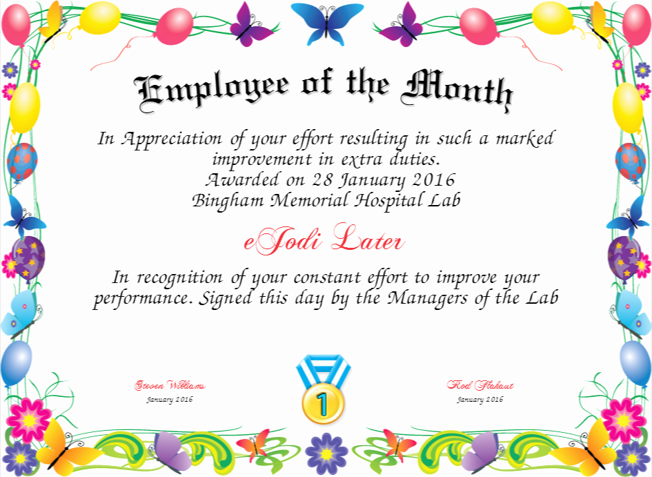 Funny Employee Of the Month Certificate Lovely Employee Of the Month Certificate
