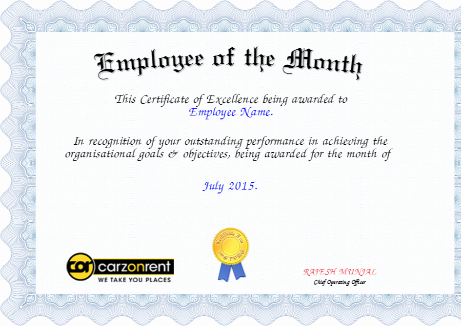Funny Employee Of the Month Certificate Luxury Employee Of the Month Certificate