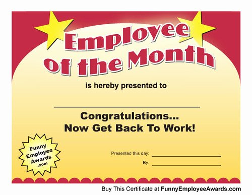 Funny Employee Of the Month Certificate New Employee Of Month Certificate