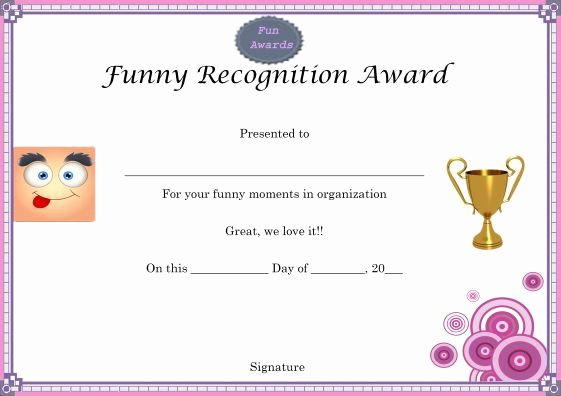 Funny Employee Of the Month Certificate New Funny Recognition Award