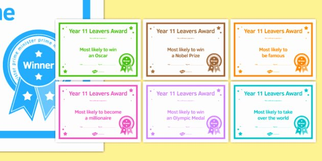 Funny Most Likely to Awards School Lovely Year 11 Leavers Award Certificates