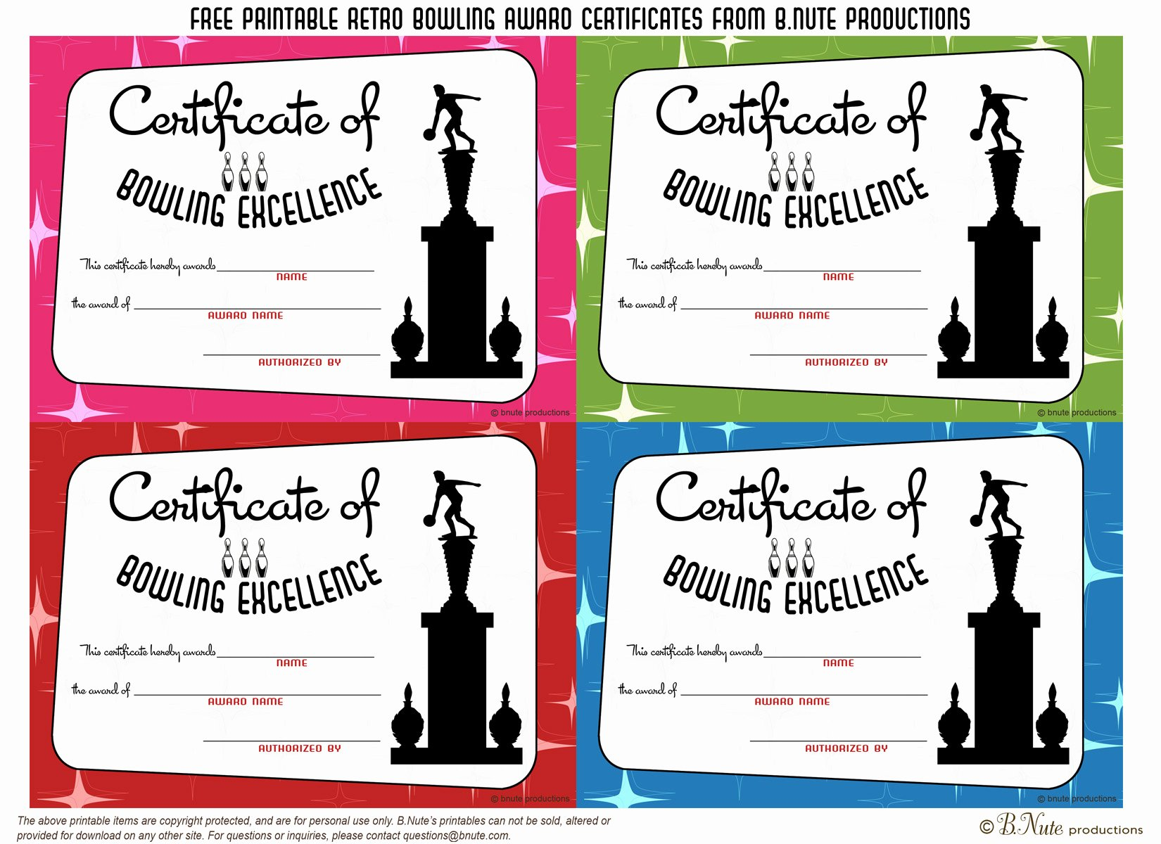 Funny soccer Award Certificates Awesome Bnute Productions Free Printable Bowling Award Certificates