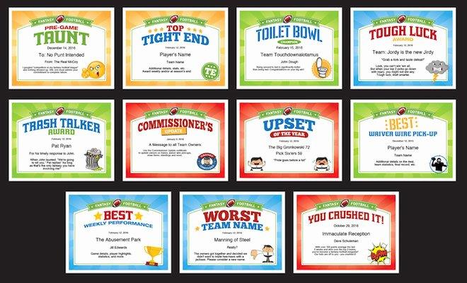 Funny soccer Award Certificates Beautiful Fantasy Football Certificates
