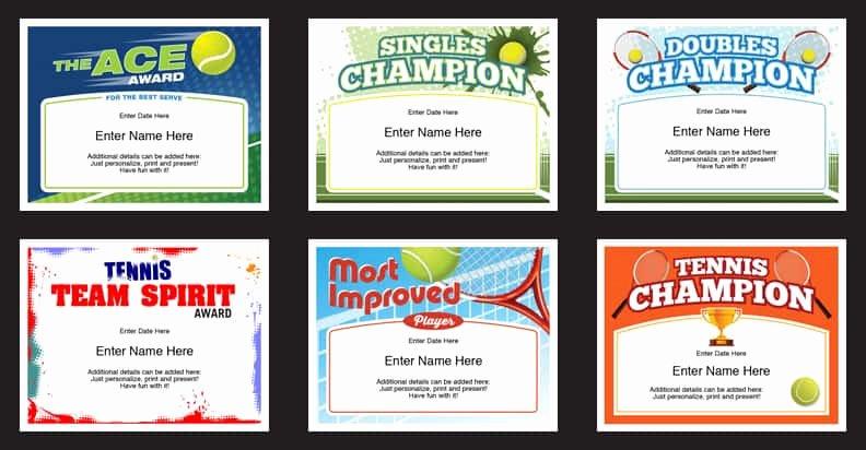 Funny soccer Award Certificates Fresh Tennis Certificates Templates Tennis Awards