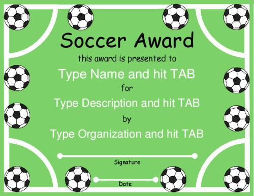 Funny soccer Award Certificates Inspirational Award Certificate Templates soccer