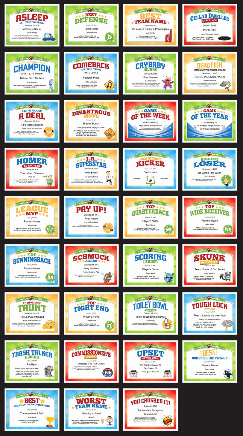 Funny soccer Award Certificates Lovely Fantasy Football Certificates
