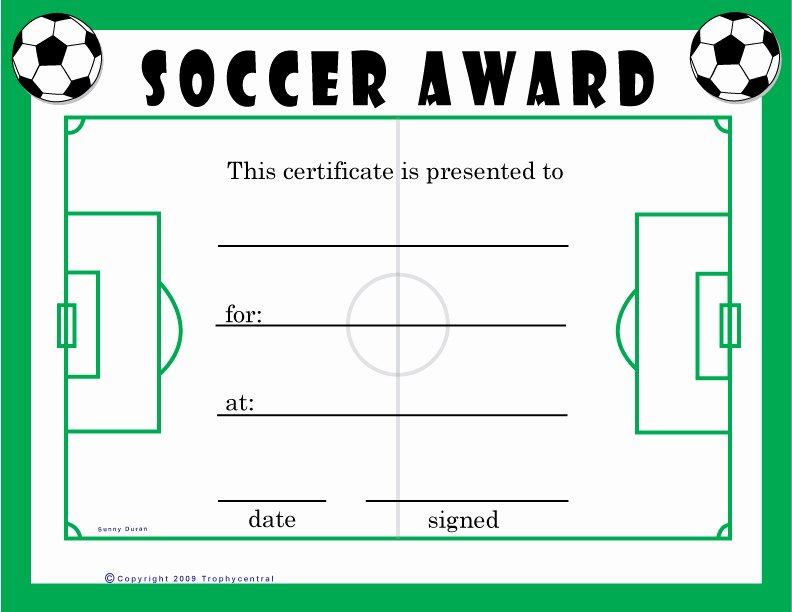 Funny soccer Award Ideas Luxury Free soccer Certificates Certificate Free soccer