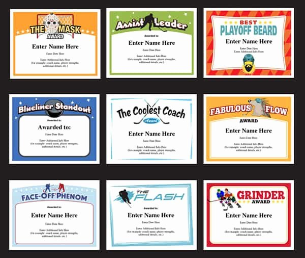 Funny soccer Awards for Kids Inspirational Hockey Certificates Templates