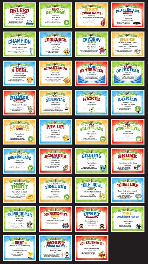 Funny softball Awards Certificates Unique Pin On Fantasy Football Awards Certificates Templates