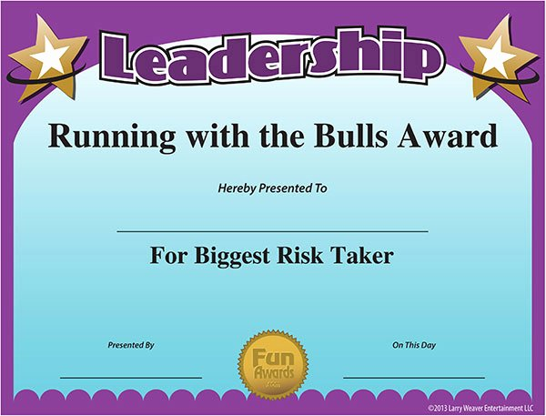 Funny Sports Awards Certificates Awesome Funny Award Ideas Certificate Of Leadership
