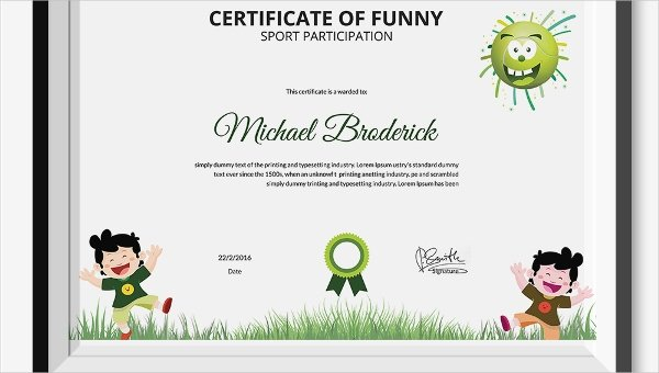 Funny Sports Awards Certificates Awesome Funny Sports Certificate 5 Word Psd format Download
