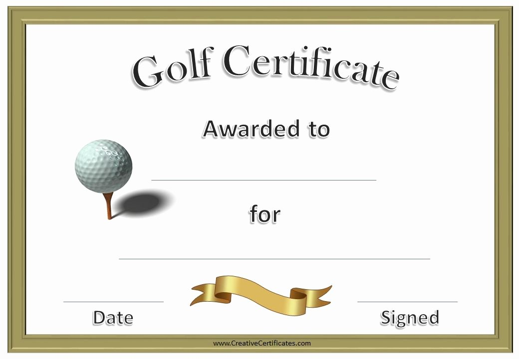 Funny Sports Awards Certificates Awesome Golf Award Certificates