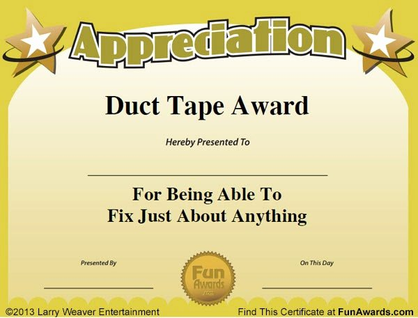 Funny Sports Awards Certificates Unique Funny Award Ideas Administrative assistant Day