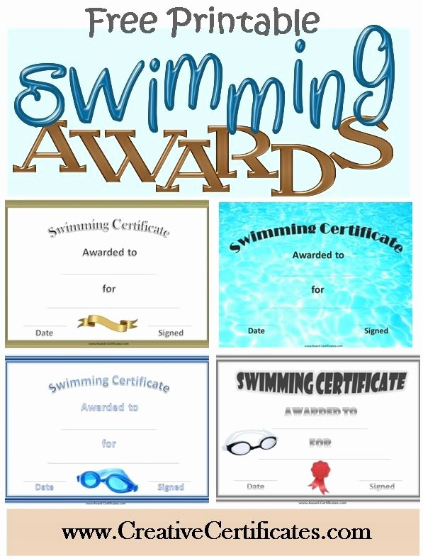 Funny Sports Awards for Kids Fresh Free Printable Swimming Certificates and Awards