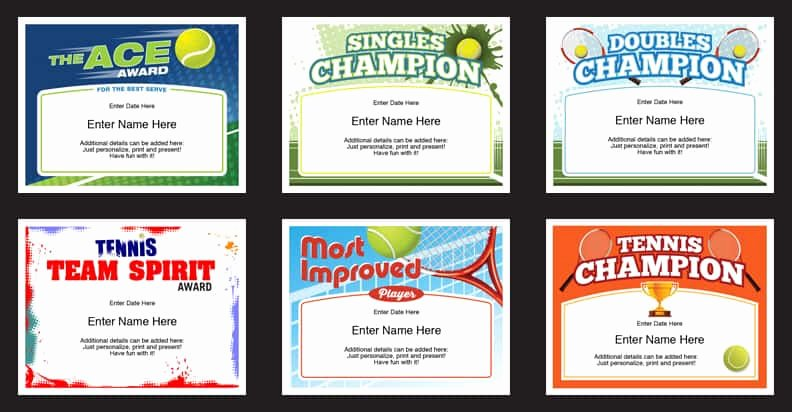 Funny Sports Awards for Kids New Tennis Certificates Templates Tennis Awards