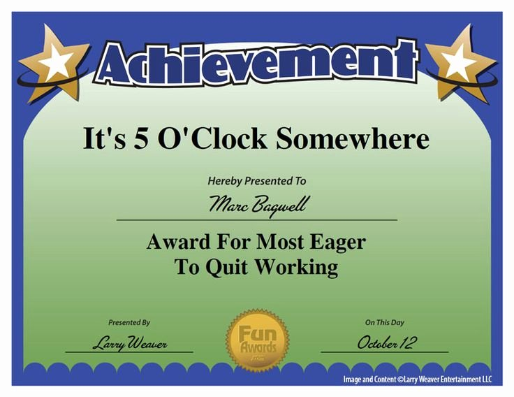 Funny Trophy Ideas for Work Unique 101 Funny Employee Awards by Edian Larry Weaver