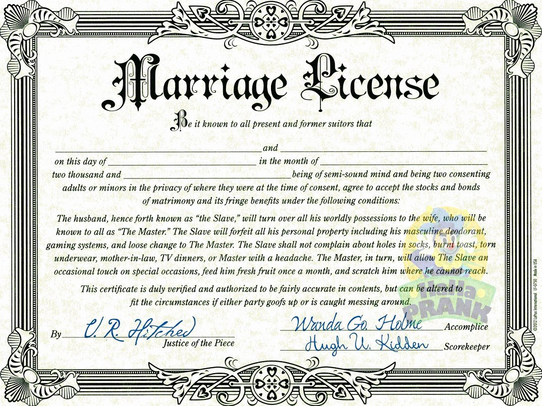 Gay Marriage Certificate Template Beautiful Fake Marriage License Hahaprank Llc